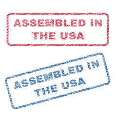 Assembled in the usa textile stamps vector