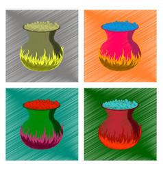 assembly flat shading style icon potion cauldron vector image