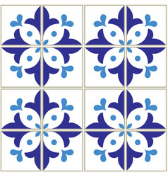 azulejos tiles pattern - portuguese blue design vector image