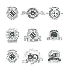 Backgammon clubs vintage style emblems vector