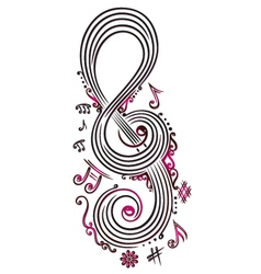 Big clef with music notes vector image vector image