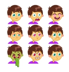 Boy emotion faces vector