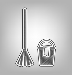 Broom and bucket sign pencil sketch vector