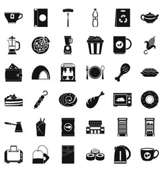 Cafe in town icons set simple style vector