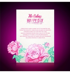 Card background from peonies vector image