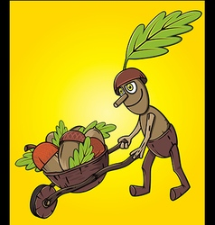 cartoon oak tree mascot pushing handcart with acco vector image