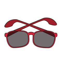 Color image cartoon glasses with red contour vector
