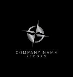compass silver color logo vector image