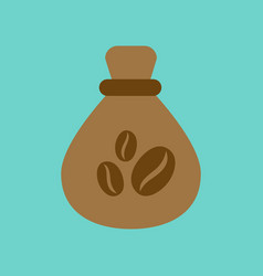 Flat icon on background bag roasted coffee vector