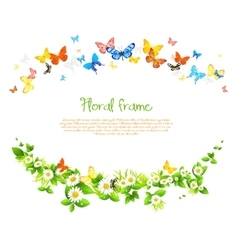 frame with beautiful butterflies and daisy vector image vector image