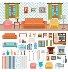 furniture room interior design and home decor vector image