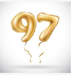 golden number 97 ninety seven metallic balloon vector image