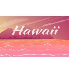 hawaii panorama cartoon vector image vector image