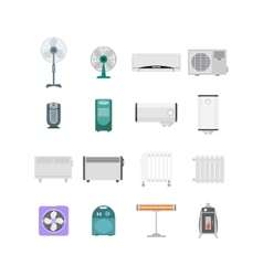 Heating ventilation and conditioning devices set vector