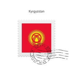 Kyrgyzstan Flag Postage Stamp vector image vector image
