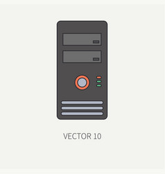Line flat color computer part icon housing vector