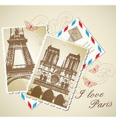 Old vintage photos of paris vector