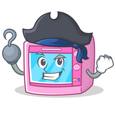 Pirate oven microwave character cartoon vector