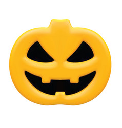 Pumpkin with angry face isolated on white 3d vector