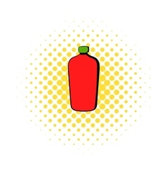 Red cosmetic bottle icon comics style vector image vector image