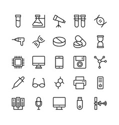 Science and technology line icons 9 vector