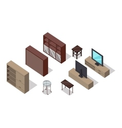 Set of furniture in isometric projection vector