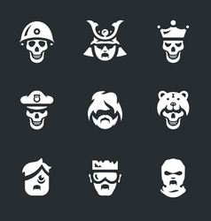 Set of halloween monsters icons vector