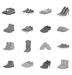 Shoe icons set gray monochrome style vector image