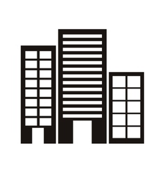 Silhouette monochrome with offices buildings vector