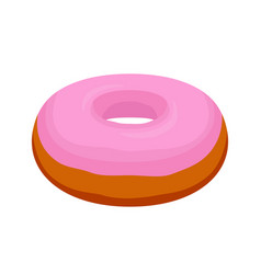 tasty pink glaze donut cartoon flat style vector image
