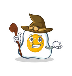 Witch fried egg character cartoon vector