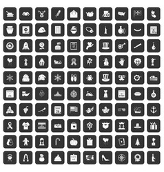 100 national holiday icons set black vector