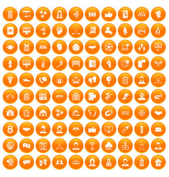 100 team icons set orange vector