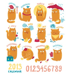 Calendar with cute bright cats vector