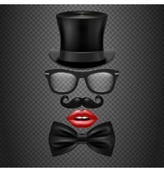 Mustache bow tie glasses red girl lips and vector
