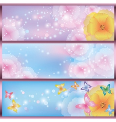 Set of horizontal floral banners vector