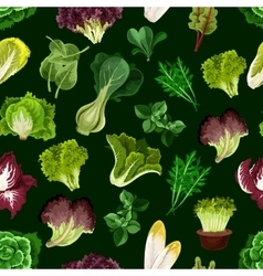 Leaf vegetable salad greens seamless pattern vector image