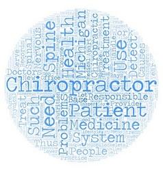 Michigan chiropractor text background wordcloud vector