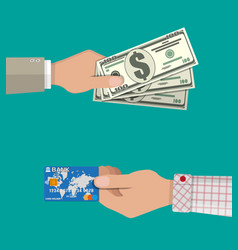 Hands with bank card and cash vector