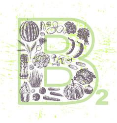 ink hand drawn fruits and vegetables vitamin b2 vector image