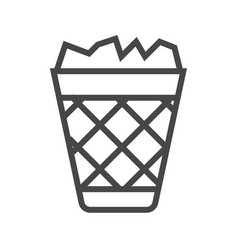 Trash bin thin line icon vector