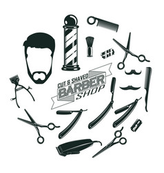 monochrome vintage barber shop elements concept vector image