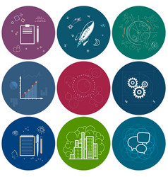 Set of round business iconsline style vector