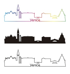 Venice skyline linear style with rainbow vector