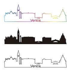 Venice skyline linear style with rainbow vector image