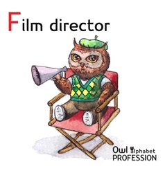 Alphabet professions owl letter f - film director vector