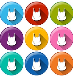 Circle buttons with sleeveless shirts vector
