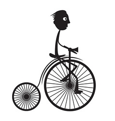 Man on old bicycle - bike vector