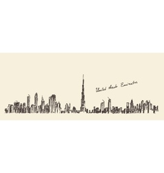 Uae dubai city skyline hand drawn engraved vector