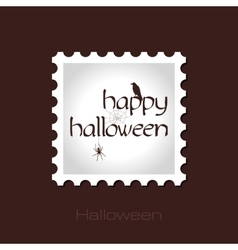 Happy halloween stamp with spider web raven vector